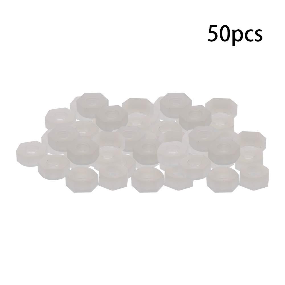 MroMax M2 0.4mmThread Pitch Nylon Hexagon Fastener Hex Full Nuts Metric Hex Nut Black And White 10//50//100//150PCS.
