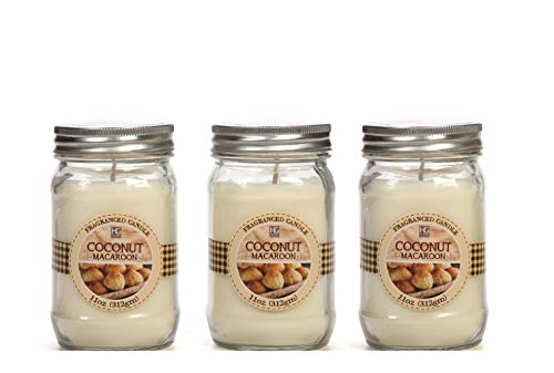 Hosley Set of 3 Coconut Scented Mason Jar Candle 11 Ounces Each Ideal Gift for Party Favors and Weddings Can be Used for Spa and Reiki as Well as Meditation and Bathroom Settings O9