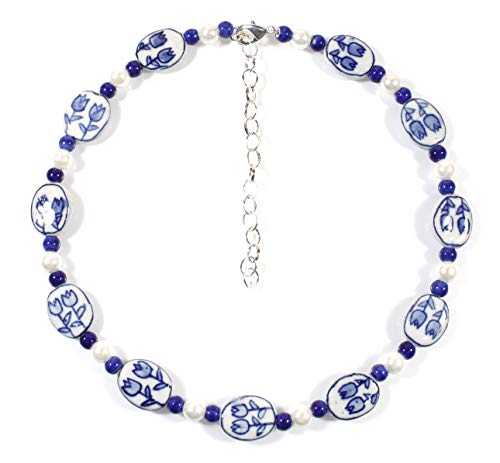 """Tulip Time"" Dutch Blue Delft Porcelain Short Necklace, 18 Inches Adjustable"