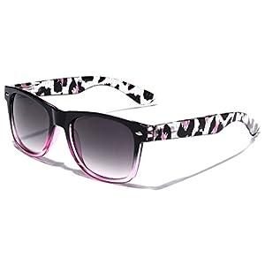 Animal Print Ladies Retro Fashion Wayfarer Sunglasses - Black & Pink