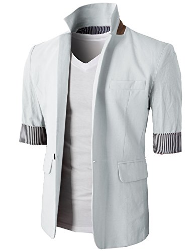 H2H Mens Casual Slim Fit Linen Blazer With Long and 3/4 Sleeve One Button WHITE US XS/Asia M (KMOBL0102)