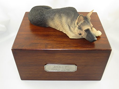 Beautiful Paulownia Large Wooden Urn with Black & Tan German Shepherd
