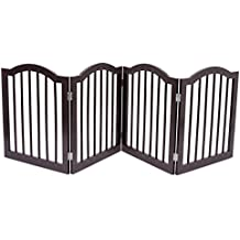 Internet's Best Pet Gate with Arched Top | 4 Panel | 24 Inch Step Over Fence | Free Standing Folding Z Shape Indoor Doorway Hall Stairs Dog Puppy Gate | Fully Assembled | Espresso | Wooden