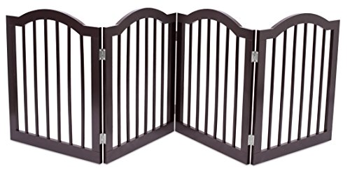 Cheap Internet's Best Pet Gate with Arched Top | 4 Panel | 24 Inch Step Over Fence | Free Standing Folding Z Shape Indoor Doorway Hall Stairs Dog Puppy Gate | Fully Assembled | Espresso | Wooden