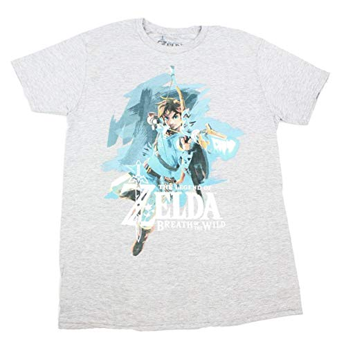 Legend of Zelda: Breath of The Wild Link with Bow Men's Grey T-Shirt: XX-Large