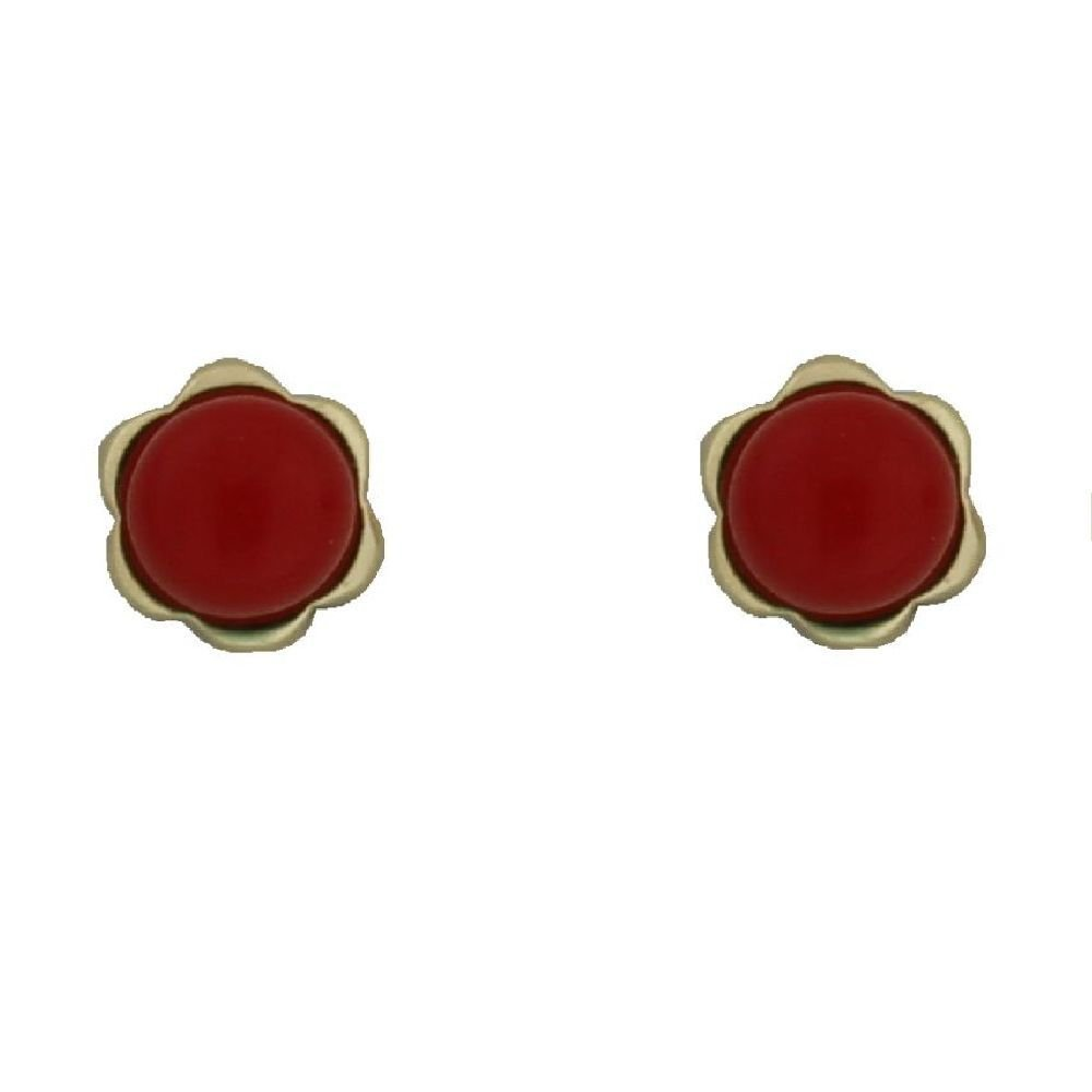 18k yellow gold Coral paste beads flower screwback earrings 0.22 inch 4 mm