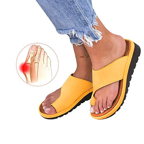 (Chenghe Women's Flip Flop Wedge Sandal Comfort Open Toe Thong Slid Slippers Summer Beach Travel Sandal Shoes Yellow US 9)