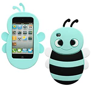Bfun Packing Light Blue Cartoon Bee Style Silicone Cover Case for Apple iPod Touch 4 4G 4TH