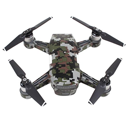 Creazy Luxury Carbon Fiber Skin Wrap Waterproof Stickers For Dji Spark Accessories  Camouflage