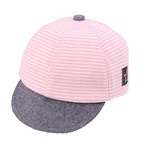 BIYUT Puseky Baseball Cap Kids Sports Mesh Hat Cotton Stripe Cartoon Summer Cap Pink -