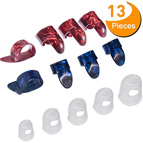 Guitar Starter Kit Includes 8 Pieces Guitar Thumb & Finger Picks (Metal and Blue Celluloid), 5 Pieces Clear Guitar Finger Protectors (Picks Thumb Guitar Medium)