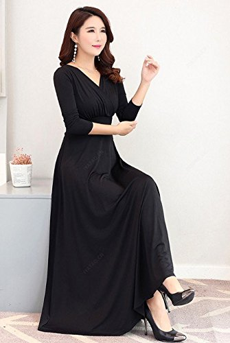 sleeves V long Femme Manches 2018 Haute Robes Jupe Grand Robe Courtes MiGMV Robe Taille Jupe Longue Black nHawxZ