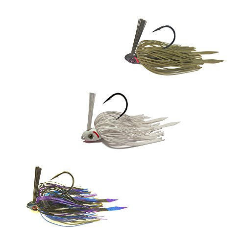 Swim Jigs with 3D Realistic Eyes Jig Head Fishing Lures to Bait Bass, Bluegill and More - 3-Pack (SWIM-JIG-12-BE-FROG-WS)