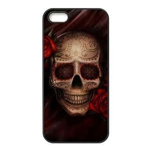 Diy Beautiful Floral Sugar Skull Custom Cover Phone Case for iphone 5s Black Shell Phone [Pattern-1] ka ka case