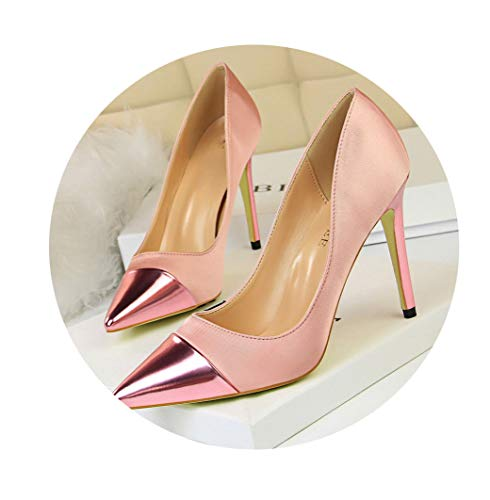 (GanQuan2018 Women Pumps Pointed Toe Slip on Solid Color High Thin Heels Shallow Party Shoes)