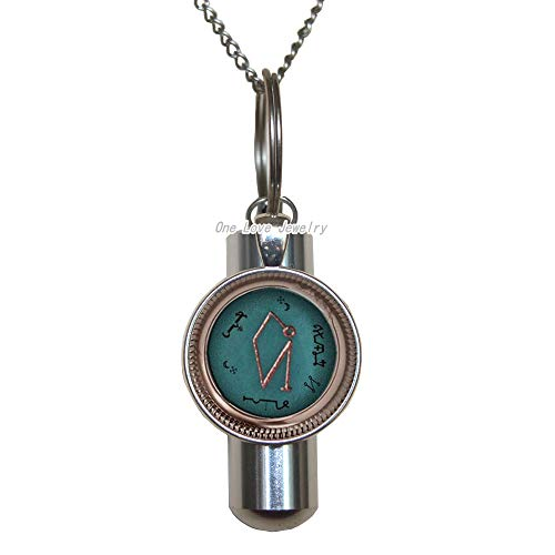 Ni36uo0qitian0ozaap Archangel Uriel Sigil Glass Cremation URN Necklace Fashion Cremation URN Necklace for Men Lobster Clasp Jewelry Husband Gift,TAP106