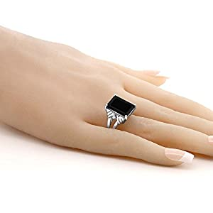 Black Onyx & White Sapphire 925 Sterling Silver Ring 7.38 Cttw 14X10MM Center (Available 5,6,7,8,9) (Size 5)