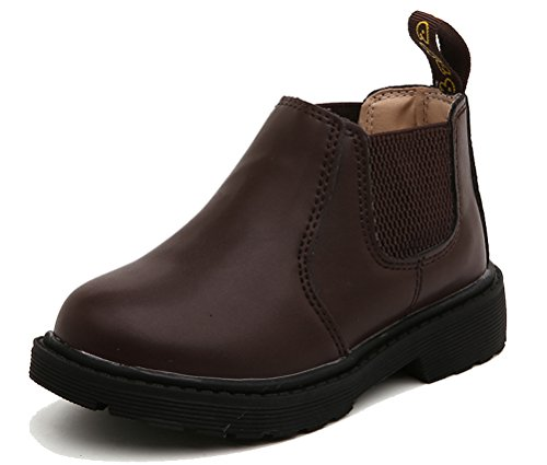 Short PU Leather Martin Boots (Coffee) - 1