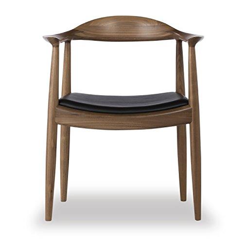 Kardiel Wegner Style Presidential Dining Chair, Black Italian Leather/Real Walnut (Chair Leather Black Italian Dining)