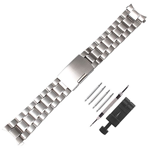 Weelovee 20mm Stainless Steel Watch Band with Curved End Design Bracelet for Women Mens Metal Fold Over Wrist Strap Replacement Silver,Repair Kits Included