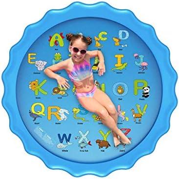 子供用スプリンクラー、スプラッシュパッド、68インチのスプラッシュプレイマット屋外ウォータープレイスプリンクラー夏用スプリンクラーウェイディングプール、子供用スプリンクラー/幼児/赤ちゃん/ペット