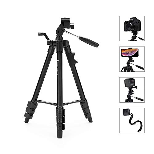 Camera Tripod Fotopro Phone Tripod up to 48 Max Load 4.4 lbs,with Phone Tripod Mount,Wireless Bluetooth Remote,GoPro Adapter,Quick Release Plate, for DSLR Canon Sony Nikon Lumix Samsung S9 iPhone X