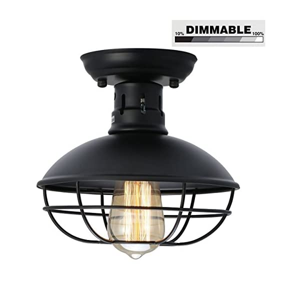 KingSo Industrial Metal Cage Ceiling Light, E26 Rustic Mini Semi Flush Mounted Pendant Lighting Dome/Bowl Shaped Lamp Fixture Farmhouse Style for Foyer Kitchen Garage Porch Entryway - ✔Size: Diameter of globe is 8.7 inch, 8.3 inches in Height, 2.1 Pounds in Weight, hard-wired. Mini Metal Cage Ceiling Lighting Fixture ✔ Dimmable function: It works well with any E26 base LED bulb, incandescent bulb and WIFI Smart bulb. LED bulb and incandescent bulb can be dimmed with an extra DIMMER SWITCH. It is no need dimmer switch if you use WIFI Smart bulb, which works with Phone Control, Amazon Alexa and Google Assistant. Bulb Not Include. ✔ Material & Design: ①Shell of Metal Cage Ceiling Lighting Fixture is made of high quality iron alloy, and the lamp holder is made of heat-resisting ceramics. ② Cage design sends out a vintage industrial feeling. Simple, Classic and Traditional, It well protects the bulb and maximizes its light. - bathroom-lights, bathroom-fixtures-hardware, bathroom - 41GZHIzjmhL. SS570  -