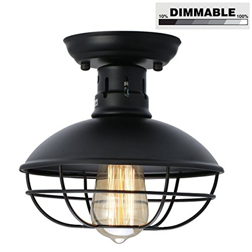 41GZHIzjmhL - KingSo Industrial Metal Cage Ceiling Light, E26 Rustic Mini Semi Flush Mounted Pendant Lighting Dome/Bowl Shaped Lamp Fixture For Country Hallway Kitchen Garage Porch Bathroom