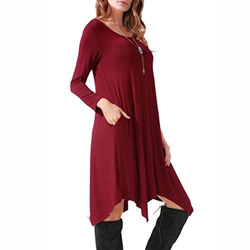 ... ZIYOU Damen Kurzarm T-Shirt Knielang Kleid, Frauen Elegant Rundhals  Bluse Kleid Festlich Asymmetrisches ... 70118cbd06
