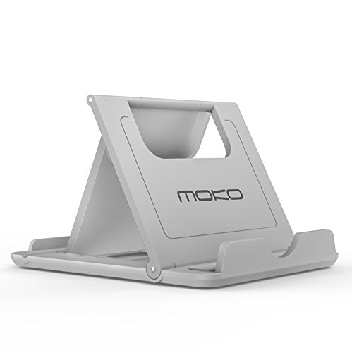 "Price comparison product image MoKo Cell Phone Stand, Tablet Stand, Universal Foldable Multi-angle Desktop Holder for Smartphone, Tablet(6-8"") and E-reader, iPhone 7 Plus/6s Plus, Nintendo Switch, Samsung Galaxy S8/S8 Plus, Gray"
