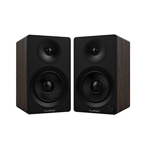 Fluance Ai40B Powered Two-Way 5 2.0 Bookshelf Speakers with 70W Class D Amplifier for Turntable, PC, HDTV & Bluetooth aptX Wireless Music Streaming (Natural Walnut)