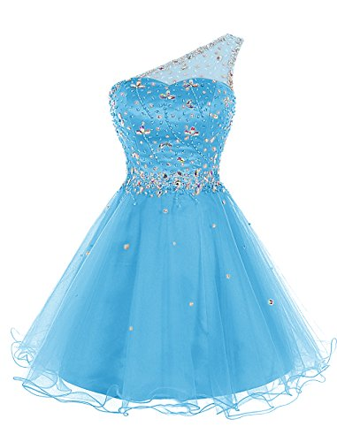 One Shoulder Prom Dress 2011 - Bbonlinedress Women's Short Tulle Homecoming Dress One-Shoulder Beaded Cocktail Prom Party Dress Blue 2