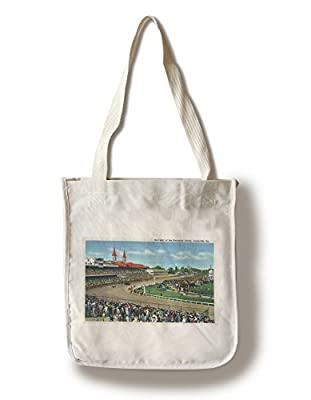 Louisville, Kentucky - Souvenir of the Kentucky Derby; Race Scene (100% Cotton Tote Bag - Reusable, Gussets, Made in America)