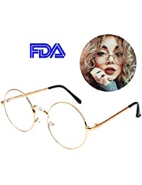Retro Round Glasses Clear Lens Metal Frame UV400...