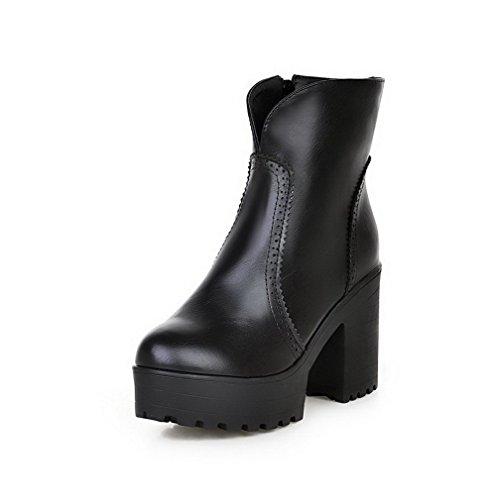 Agoolar Mujeres High-heels Sólido Redondo Cerrado Dedo Suave Material Cremallera Botas Negro