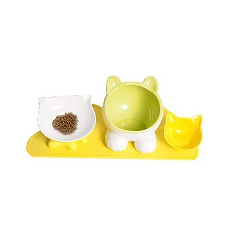 Gatos Ceramica Cuenco Conjunto para Mascota Gato Cabeza En Forma El Agua Cuenco Mini Cuenco La
