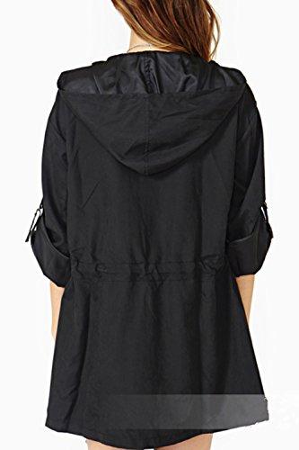 Donne Impermeabile Bf Black Cordoncino Merletto Outwear Stile Casual Cappuccio Tunica Lo Con Sottile Le SxPIqdwS