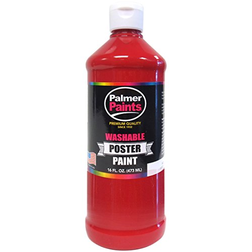 Palmer 16622-6 Washable Poster Paint, 16 oz, Red Red Poster Paint Bottle