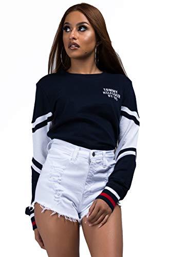 - Tommy Hilfiger Women's Long Sleeve Pullover Logo Sweater Sweatshirt Pajama Top Pj, Navy Blazer, X-Large