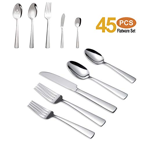 Brightown 45-Piece Silverware Flatware Cutlery Set in Ergonomic Design Size and Weight, Durable Stainless Steel Tableware Service for 8, Dishwasher Safe ()