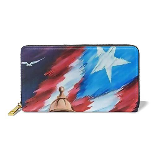 Long Leather Wallet Puerto Rico Flag Women Zipper Purse Long Purse PU Wallet