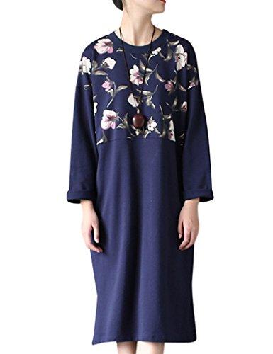 Youlee Mujeres Primavera Redondo Collar Flor Impreso Vestir Azul