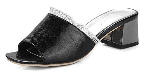 Plage Toe Sandales Aisun Dentelle Mules Noir Femme Orteil Peep Mode Eté WHqOUfg