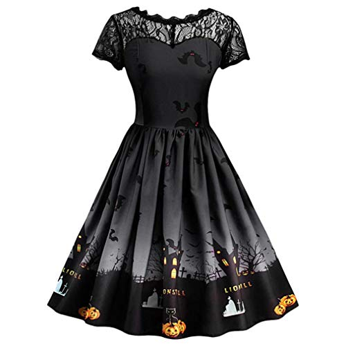 DEATU Ladies Halloween Dress, Teen Girls Womens Pumpkin Patchwork Printed Vintage Gown Party Swing Dress(B-Black ,L)]()