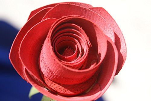 Long Stem Rose, Handcrafted Wood Rose for 5 Year Anniversary, Romantic gift for wife or girlfriend.