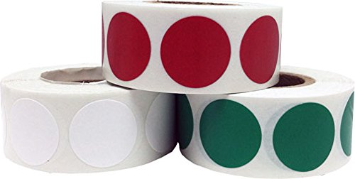 Craft Decoration Color Coding Dot Stickers - Cranberry Green and White - 1,500 Total 0.75