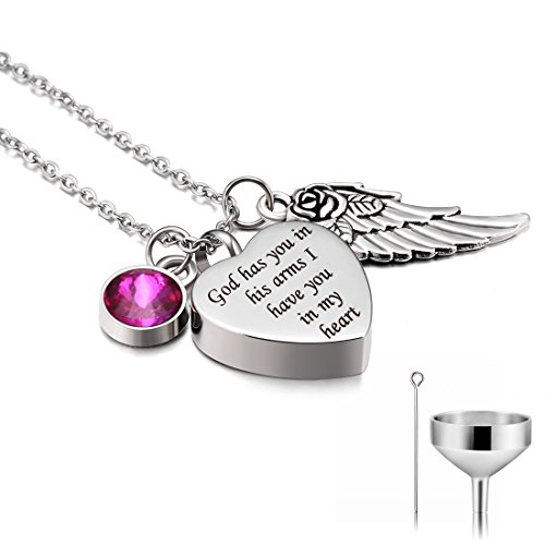 CAT EYE JEWELS Stainless Steel Cremation Keepsake Memorial Urn Necklace with Funnel Kit N010