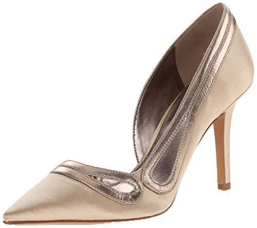 Nine West Women's Jiterbug Satin Dress Pump, Light Gold/Natural, 8.5 M US - Nine West Satin Shoes