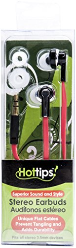 Hottips 1883445 Flat Cord High Sound Quality Earbuds - Case