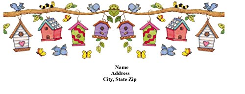 (120 Personalized Address labels Birdhouses (bh 3))